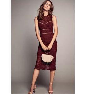 Bardot Mariano Lace Sheath Dress Boysnberry